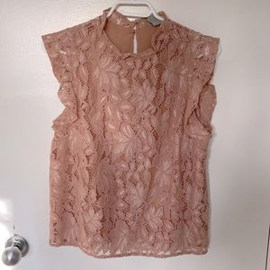 H&M Pink Mock Neck Sleeveless Lace Top
